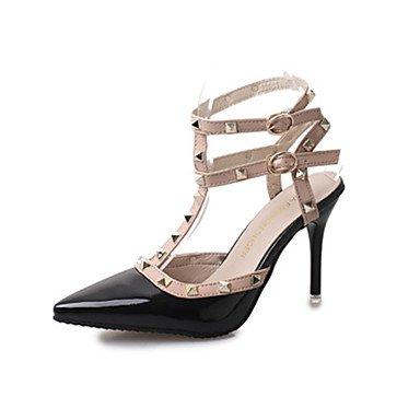 Primavera talón Casual mujer Confort Pink Hebilla tacones Stiletto negro Charol LFNLYX Rosa La Roja caminando wURFHqTF