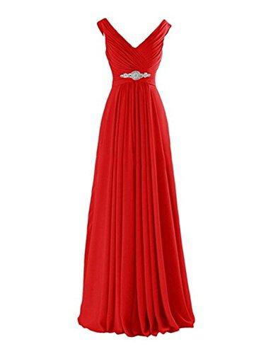 V Linie Ausschnitt Elegantes Rot Bodenlang Perlen A Damen Abendkleid Langes Chiffon Aiyana 7Fnq8AwxC