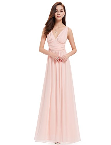 Formal Pink Dress (Ever-Pretty Womens Elegant Empire Waist Double V Neck Maxi Dress 4 US Pink)