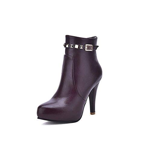 AdeeSu Womens Metal Ornament Casual Wheeled Heel Shoes Patent Leather Boots metallic HAbpe1J