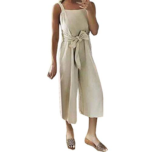 - Ladies Fashion Elegant Jumpsuit Women Jumpsuits Elegant Wide Leg Shoulder-Strap Sashes Bow Lace-up Playsuit Khaki L