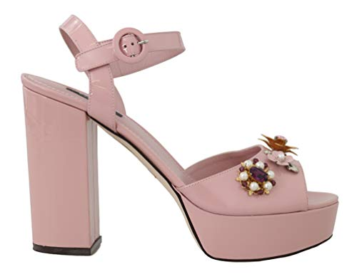 Dolce & Gabbana Pink Leather Crystal Sandals ()