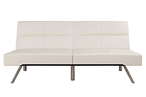 DHP Studio Convertible Futon Couch, Vanilla Faux Leather