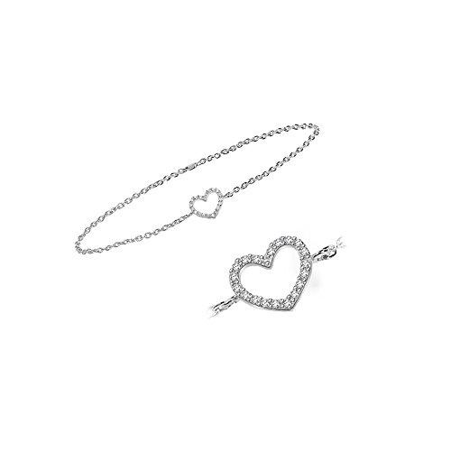 Or Blanc 9 ct Bracelet Diamant en forme de cœur, 0.08 Ct Diamant, GH-SI, 1.12 grammes.