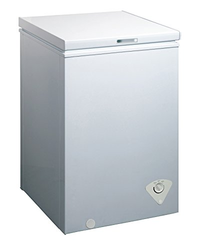 midea WHS-129C1 Single Door Chest Freezer, 3.5 Cubic Feet, White (Smallest Side By Side Refrigerator With Ice Maker)