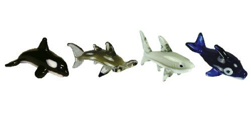 Looking Glass Miniature Collectible - Orca / Hammerhead / Great White Shark / Dolphin (4-Pack)