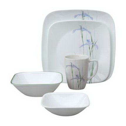 Corelle Square Shadow Iris 30-Pc Set Corelle Corningware Shadow Iris