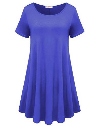 BELAROI Womens Comfy Swing Tunic Short Sleeve Solid T-Shirt Dress (S, Bluish Purple)