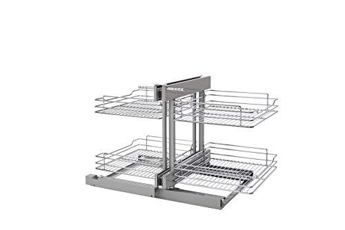 Blind Hardware Cabinet Corner - Rev-A-Shelf 18 in Chrome Blind Corner Organizer w/Soft-Close,