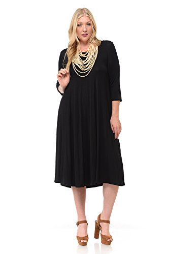 (Pastel by Vivienne Women's A-Line Trapeze Midi Dress Plus Size XXX-Large Black)