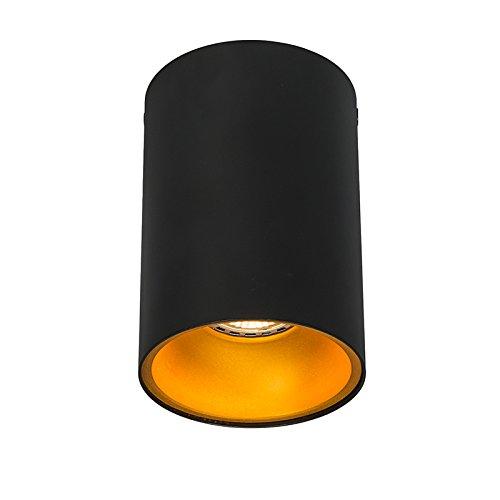 QAZQA Design Modern Deckenstrahler Deep Schwarz Gold Messing Innenbeleuchtung Wohnzimmerlampe Schlafzimmer Küche Metall Zylinder Rund LED geeignet GU10 Max. 1 x 50 Watt