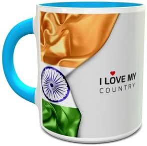 مج سيراميك أبيض وأزرق بتصميم علم الهند