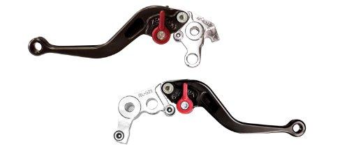 (Yana Shiki LC16LCS-BLK/RC16LBS-BLK Black Short Adjustable Standard Brake/Clutch Lever Set with Chrome Knuckles for Honda CBR1000RR)