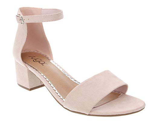 Sugar Women's Noelle Low Two Piece Block Heel Dress Shoe Ladies Ankle Strap Pump Sandal Blush 9