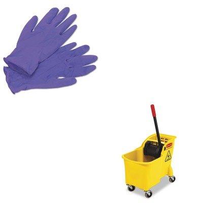 KITKIM55082RCP738000YEL - Value Kit - Rubbermaid Tandem 31qt Bucket/Wringer Combo (RCP738000YEL) and KIMBERLY CLARK PURPLE NITRILE Exam Gloves (KIM55082)