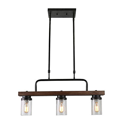 Anmytek Kitchen Island Pendant Lighting with Bubble Glass Shade Industrial Rustic Chandelier Retro Ceiling Light or Edison Vintage Hanging Light Fixture 3-Lights (C0038) (Glass Lighting Kitchen Island)