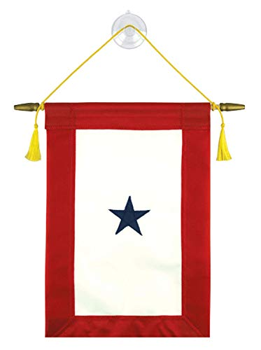 Vanguard Family Member Military Service Banner - One Blue Star Service Banner Flag - 7 ½ Inches by 14 ½ Inches