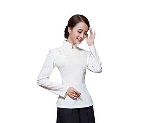 Fleur Longue Devant Blouse ACVIP Veste Tang Femme Chemise Couleurs Chinoise pour Manche Plusieurs Blanc Rtro Style de wHzpHYq