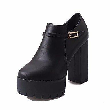 Botas de mujeres PU Confort Casual de resorte plano negro Black
