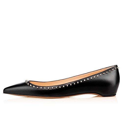 Arc-en-Ciel los zapatos de cuero tachonado de las mujeres en punta plana Negro