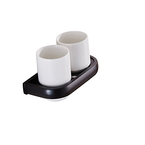 Lofenner Wall Mount Contemporary Style Simple All Cooper Cup Holders Toothbrush Holders Set,Oil Rubbed Black Bronze