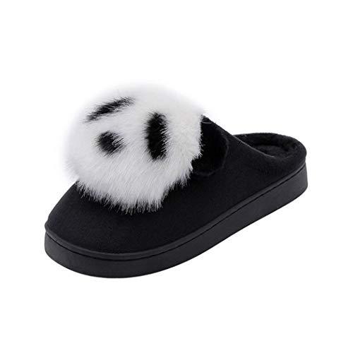 Drôle Noir Animal Doux Pantoufles Printemps Furry Bottes Mignon Merde Chaussures Emoji Maison Femmes Hommes Intérieur Fond Chaud Peluche Et dtgq1AgUW