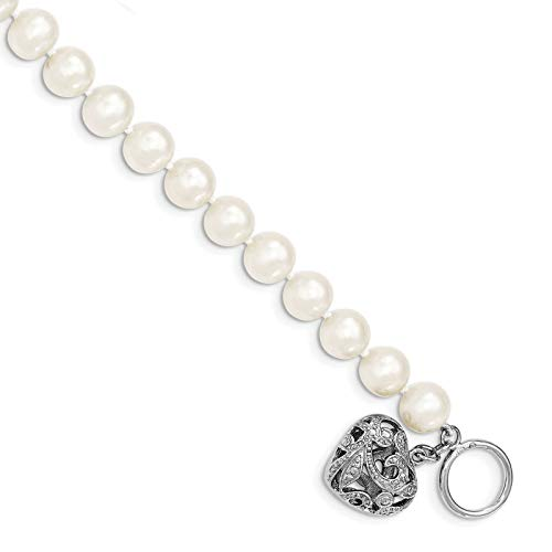 Freshwater Pearl Heart Toggle Bracelet - 925 Sterling Silver 8-9mm White Freshwater Cultured Pearl Heart Toggle Bracelet
