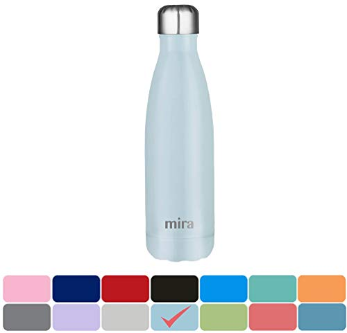 Custom Water Bottles - MIRA Stainless Steel Vacuum Insulated Water Bottle | Leak-proof Double Walled Cola Shape Bottle | Keeps Drinks Cold for 24 hours & Hot for 12 hours (Pearl Blue, 17 oz (500 ml, 0.53 qt))