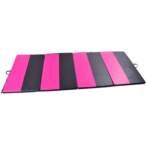 "Soozier PU Leather Gymnastics Tumbling/Martial Arts Folding Mat, Pink/Black Stripes, 4 x 10' x 2"""
