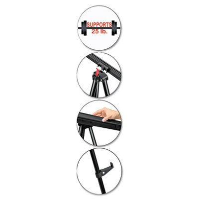 Telescoping Tripod Display Easel, Adjusts 35'''' to 64'''' High, Metal, Black, Sold as 1 Each