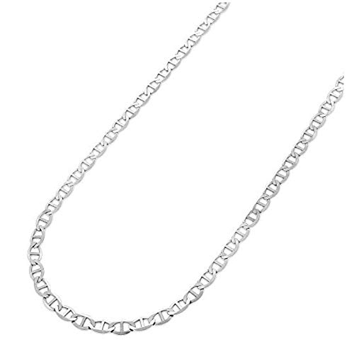 Verona Jewelers 2.7mm 925 Sterling Silver Flat Mariner Link Gucci Style Chain Necklace - Made in Italy (24)