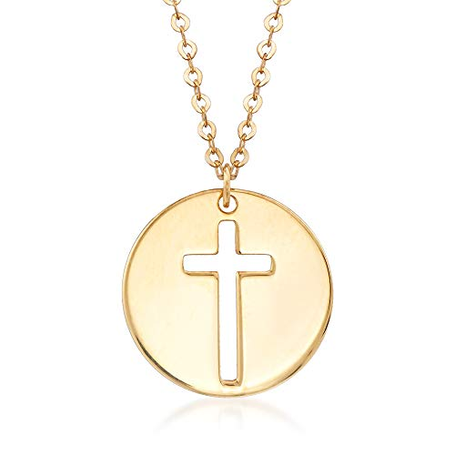 Ross-Simons Italian 14kt Yellow Gold Cross Cutout Disc Pendant Necklace Cut Out Disc Necklace