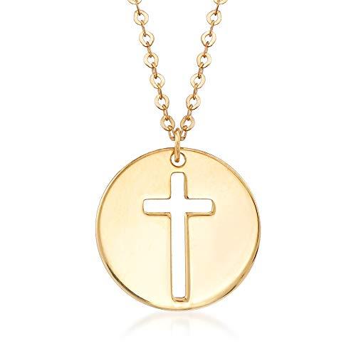 (Ross-Simons Italian 14kt Yellow Gold Cross Cutout Disc Pendant Necklace)