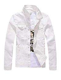Mens Classic Slim Fit Motorcycle Denim Jean Jacket Coat White Medium
