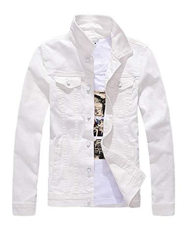 Mens Classic Slim Fit Motorcycle Denim Jean Jacket Coat White ()