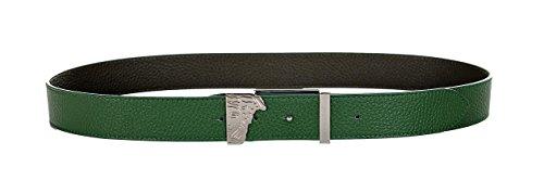 Versace Collection Men'sTextured Leather Reversible Belt Green Olive V910190 ()