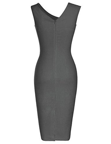 Manches Mince De Gris Robe Crayon D'affaires De Style Rétro Des Années 1950 Des Femmes Muxxn