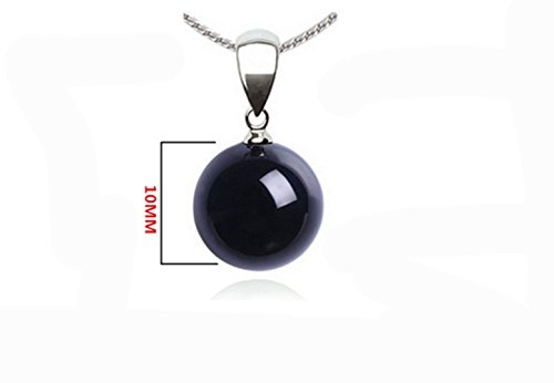 Natural Genuine Black Onyx Gem Beads Wishing Bead Necklace (Agate Disc Pendant Bead)