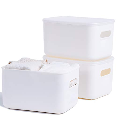 Citylife 3 Packs Storage Boxes Stackable Basket with Clear Lids Plastic Storage Bins with Handles for Kitchen Closet, Off White