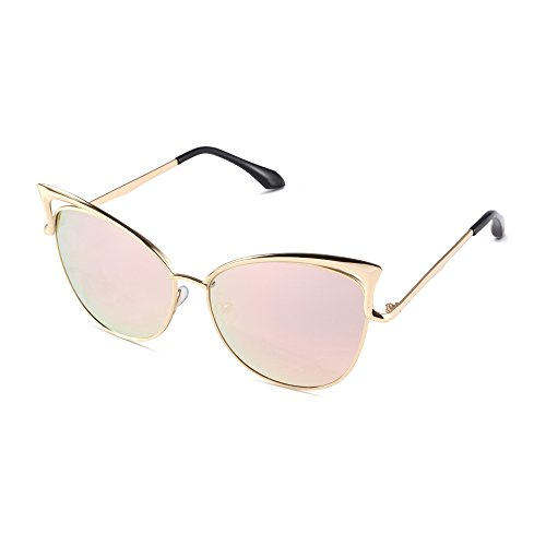 Pession Women's Fashion Flash Mirror Vintage Cat Eye - Gold Cat Sunglasses Eye