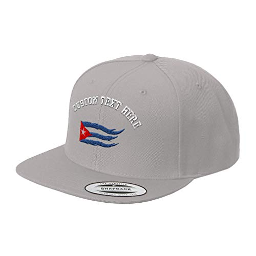 Flame Embroidered Visor - Custom Text Embroidered Cuba Cuban Flag Flame Unisex Adult Snaps Acrylic Structured Flat Visor Snapback Hat Cap - Silver, One Size