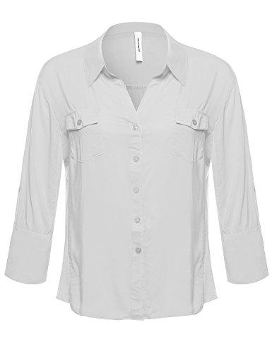 Plus4u Basic Button Down Blouse w/Ribbed Sides White Size 1XL
