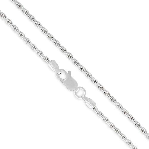 (Elite Anti-Tarnish - 2mm Diamond-Cut Rope - Patented ITProLux - 925 Sterling Silver - Solid Link Necklace Chain - Made In Italy - 16