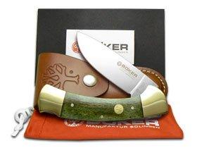 BOKER TREE BRAND Smooth Green Bone Lock Blade Hunter Pocket Knife Knives