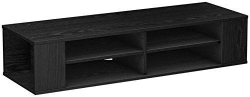 South Shore City Wall Mounted Media Audio/Video Console, Black Oak