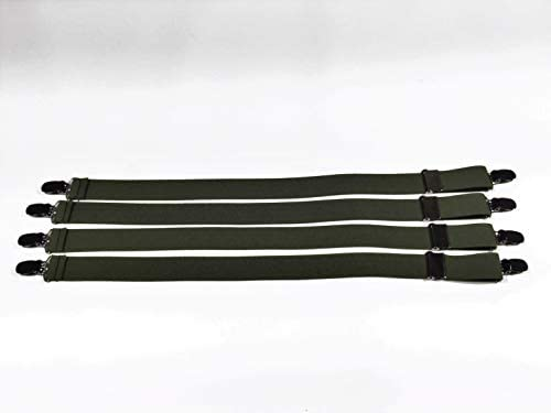 4-Pack OLIVE GREEN Military Style Super Shirt Stay Garters with the No Slip Clip