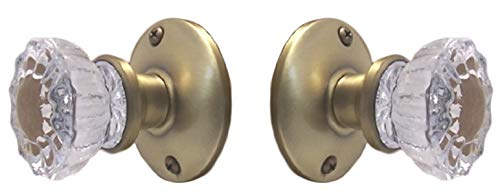 ions Crystal Fluted Glass French Door Knob Set as Dummy or Faux Knobs with All Hardware to Install on One Side of Two Doors or Any Two Solid Surfaces (Antique Brass) ()
