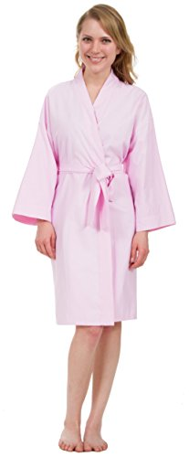 Leisureland Women's Cotton Woven Short Robes Solid (One Size, Pink)