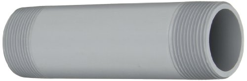 "GF Piping Systems CPVC Pipe Fitting, Nipple, Schedule 80, Gray, 6"" Length, 1-1/2"" MPT"