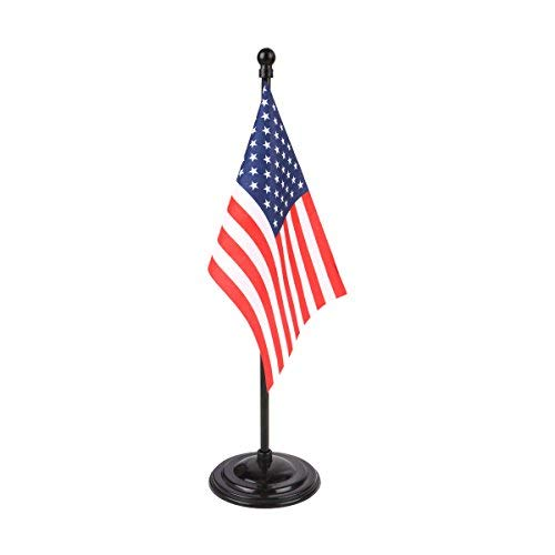 USA Miniature Table Flag with A Black Plastic Round Base